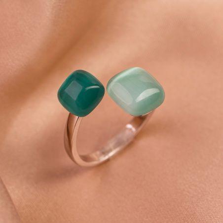 Inel reglabil argint Green Tiffany Cat Eye