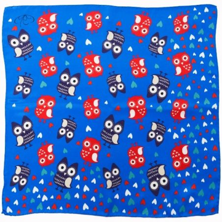 Owls blue Silk Scarf
