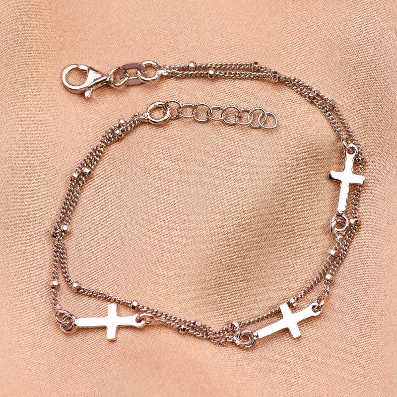 Sterling Silver Bracelet DB Cross