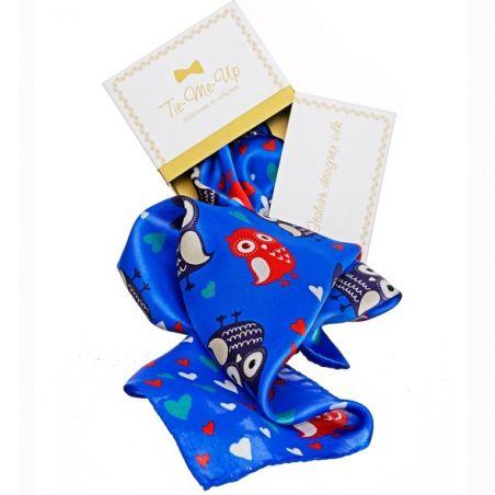 CADOU: Eșarfă mătase naturală bufnițe albastru cu fundiță