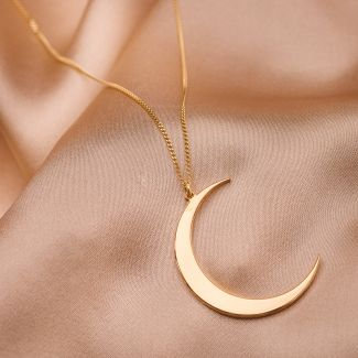 Sterling Silver Necklace Moon gold