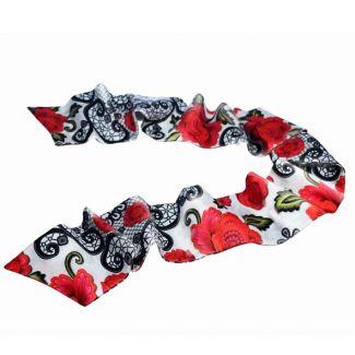 CADOU: Eșarfă mătase naturală Mystic Red cu fundiță