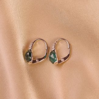 Sterling Silver Earings New Scarlet Emerald