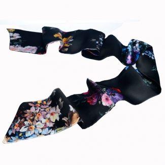 Eșarfă mătase naturală flori pictate fond negru