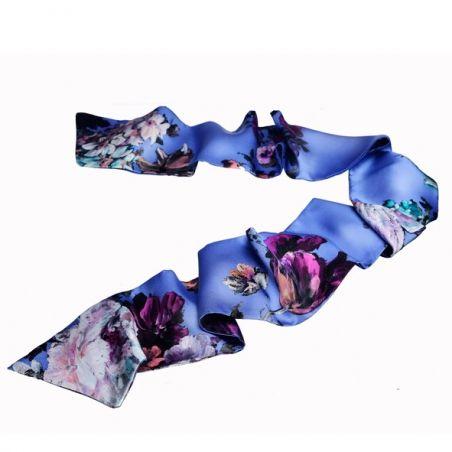 Eșarfă mătase naturală flori pictate indigo deschis