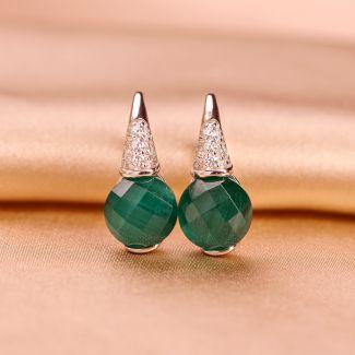Sterling Silver Earrings Emerald fatetat