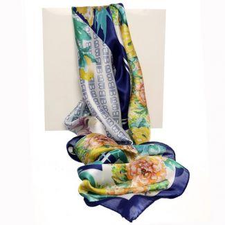 Eșarfă mătase naturală flori în colț albastru cu galben