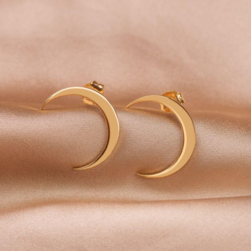 Cercei argint Moon gold