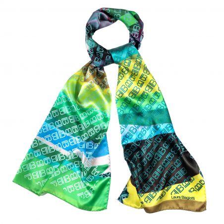 Silk shawl Laura Biagiotti logo green
