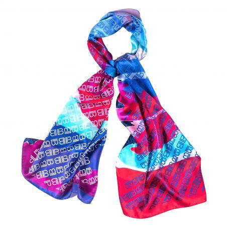 Silk shawl Laura Biagiotti logo blue