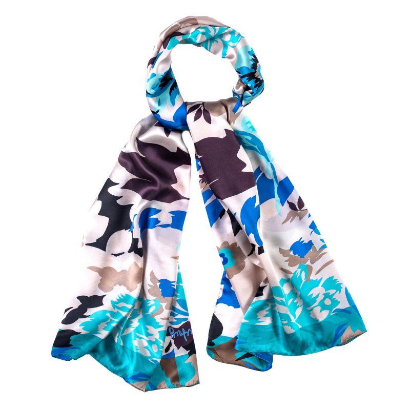 Silk shawl Valencia Fiesta turcoise