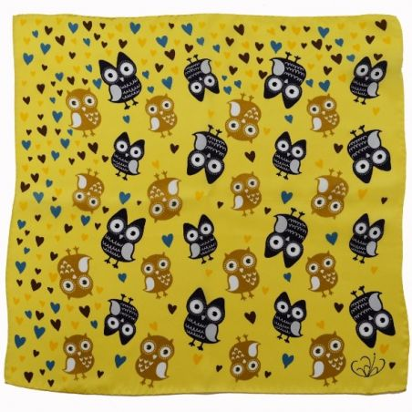 Yellow owls silk scarf