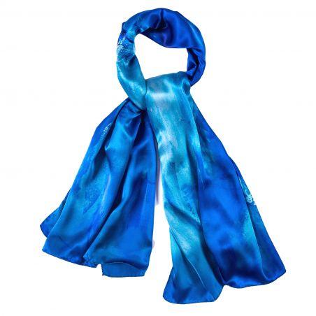 Silk shawl Ocean Aquarella