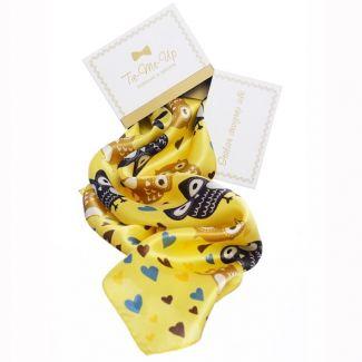 Eșarfă mătase naturală bufnițe fond galben
