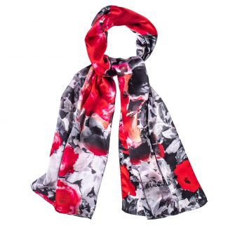 Silk shawl roses red & black