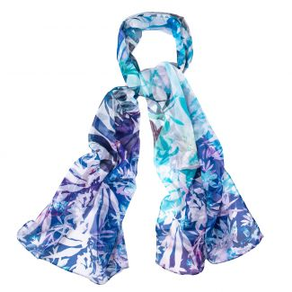Silk shawl Illusion blue