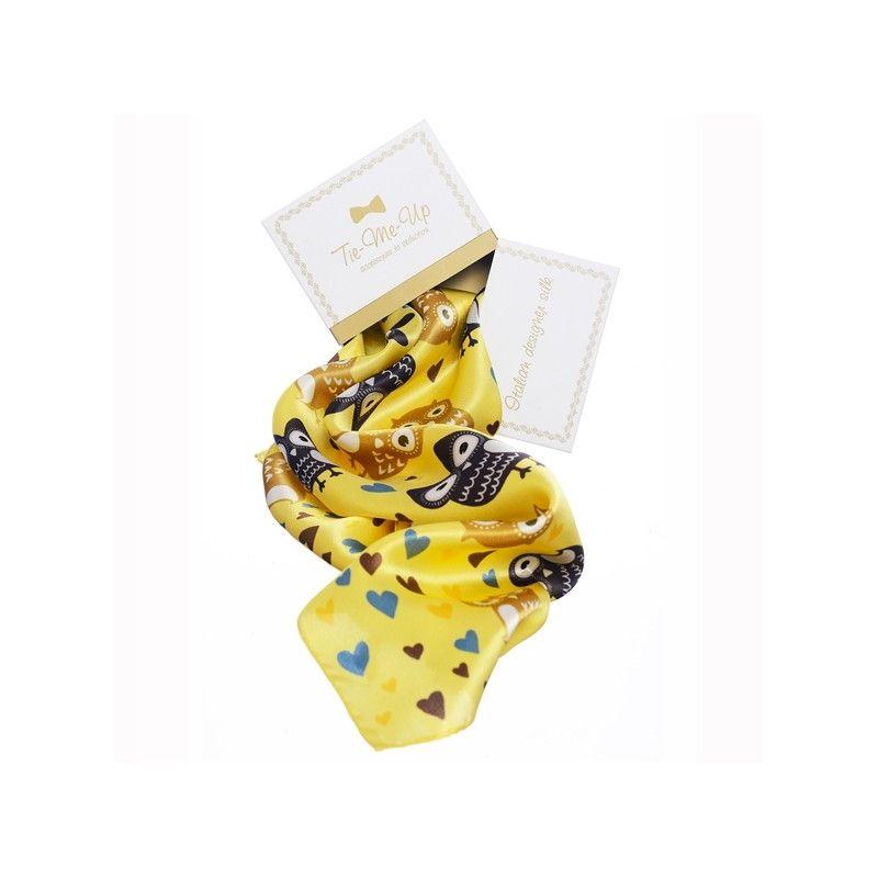 Cadou: Eșarfă mătase naturală bufnițe pe galben și fundiță
