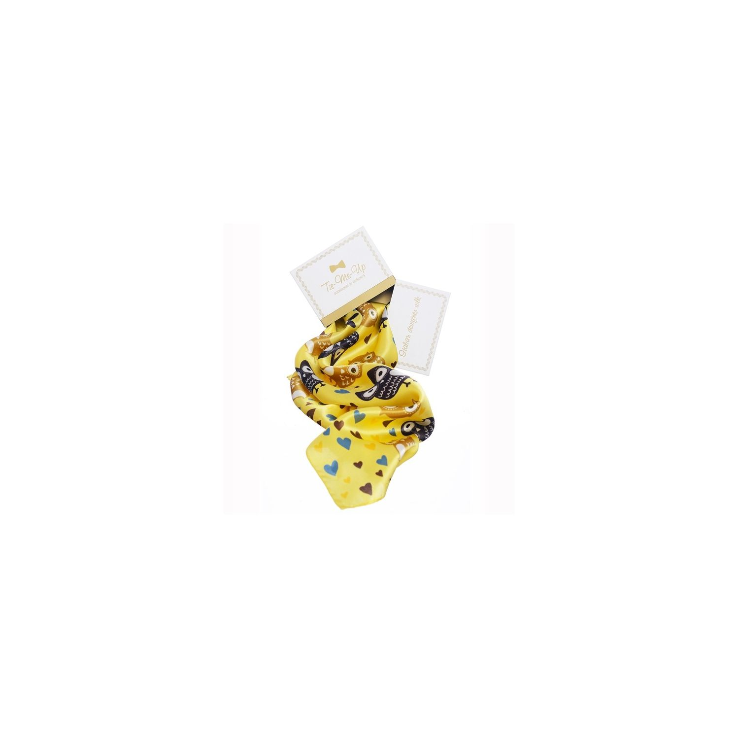 Gift: Yellow Owls Silk Scarf with bow clip