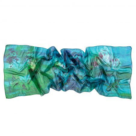 Silk shawl Everlasting green