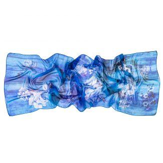 Silk shawl Everlasting blue