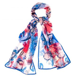 Silk shawl Flower Kiss blue