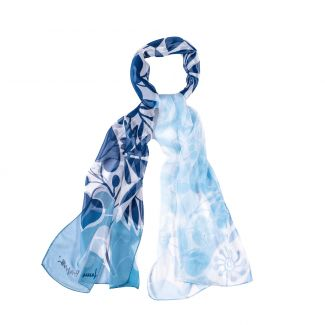 Silk shawl Cool Flowers Ice blue