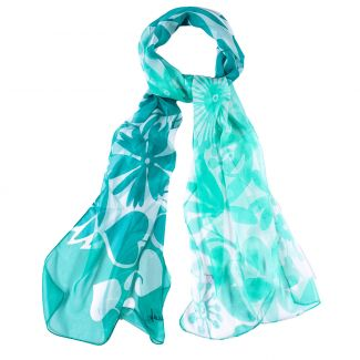 Silk shawl Cool Flowers Mint green