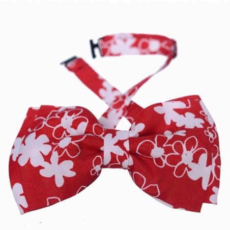 Minnie double bow tie white flowers on red