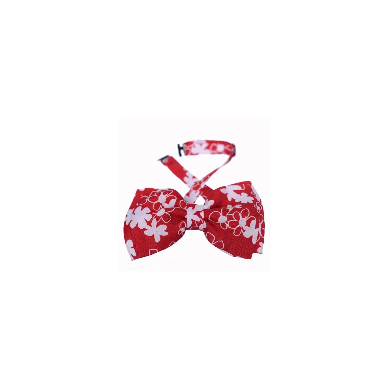 Papion dublu Minnie flori albe fond roșu