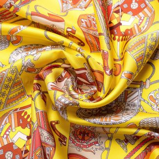 Silk scarf S twill Parisienne yellow