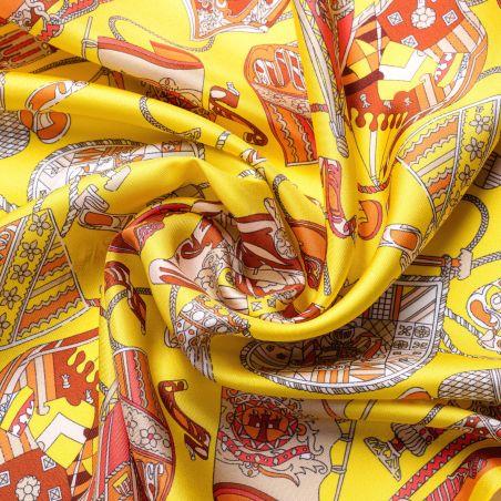 Silk scarf S twill Parisienne yellow