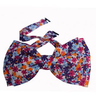 Papion dublu Minnie floricele multicolore lila
