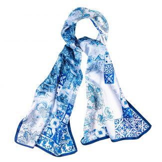 Silk shawl Azulejo blue