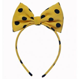 Minnie bowed Headband black dots on yellow