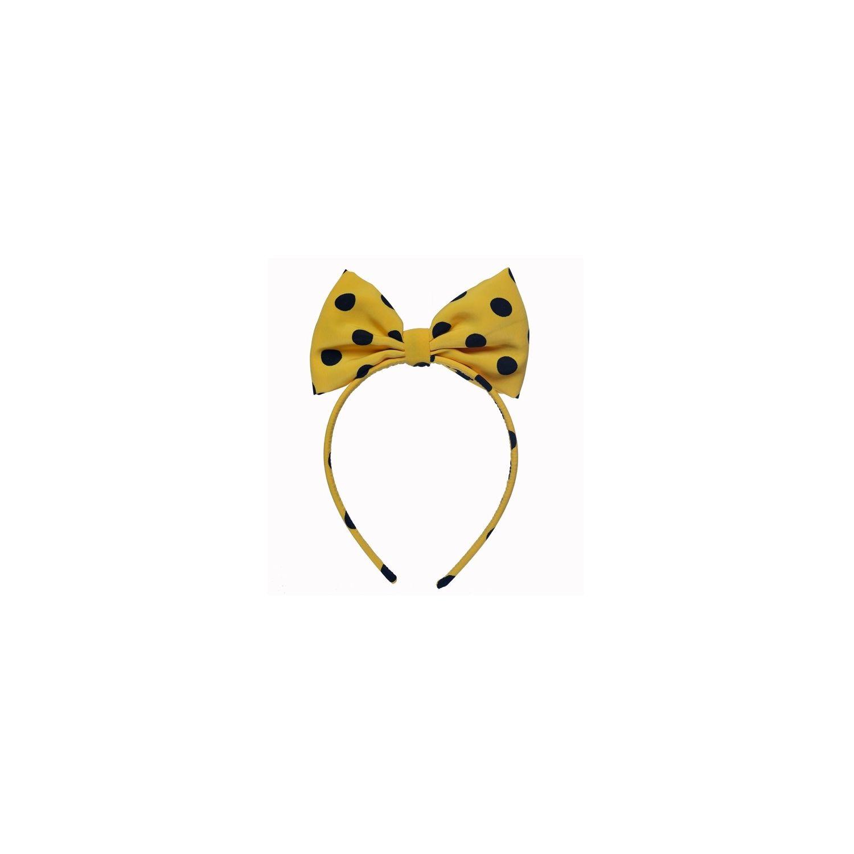 Headband cu fundă Minnie buline negre pe galben