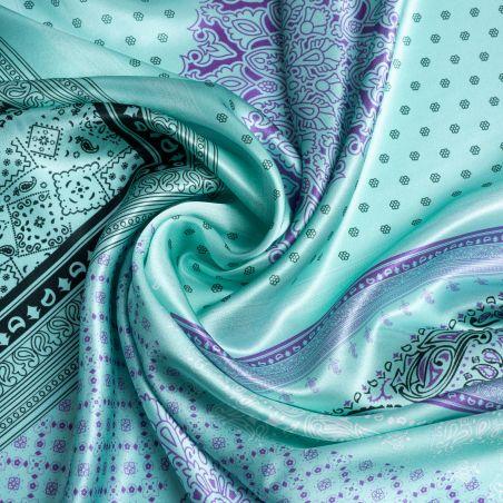 Silk scarf Geometric green mint