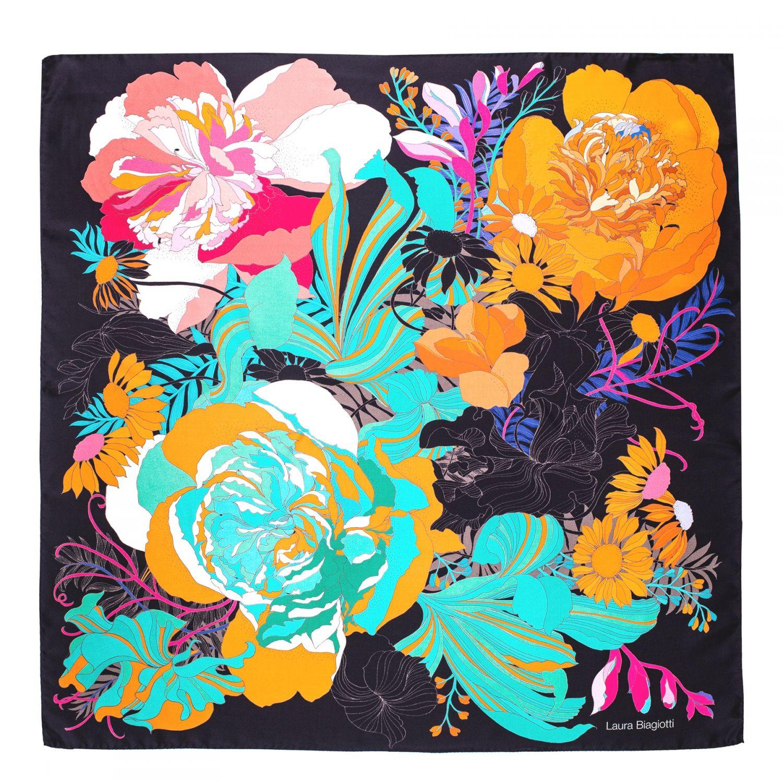 Silk scarf twill Japanese flowers black