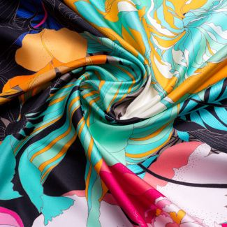Silk scarf twill Japanese flowers black