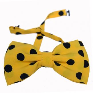 Minnie double bow tie black dots on yellow