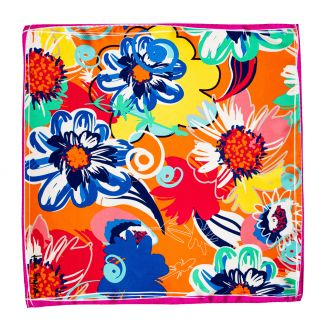 Silk scarf S Flower Kiss orange