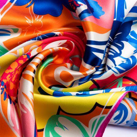 Silk scarf S Flower Kiss orange