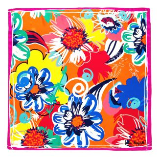 Silk scarf Flower Kiss orange