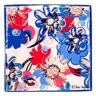 Esarfa matase Flower Kiss blu