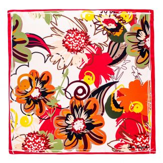 Silk scarf Flower Kiss red