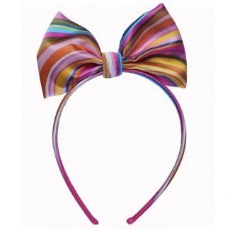 Headband cu fundă mătase naturală Minnie dungi Indo roz