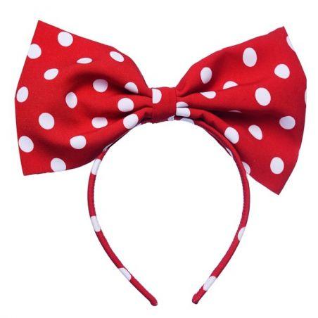 Headband cu fundă Minnie L roșu cu buline albe