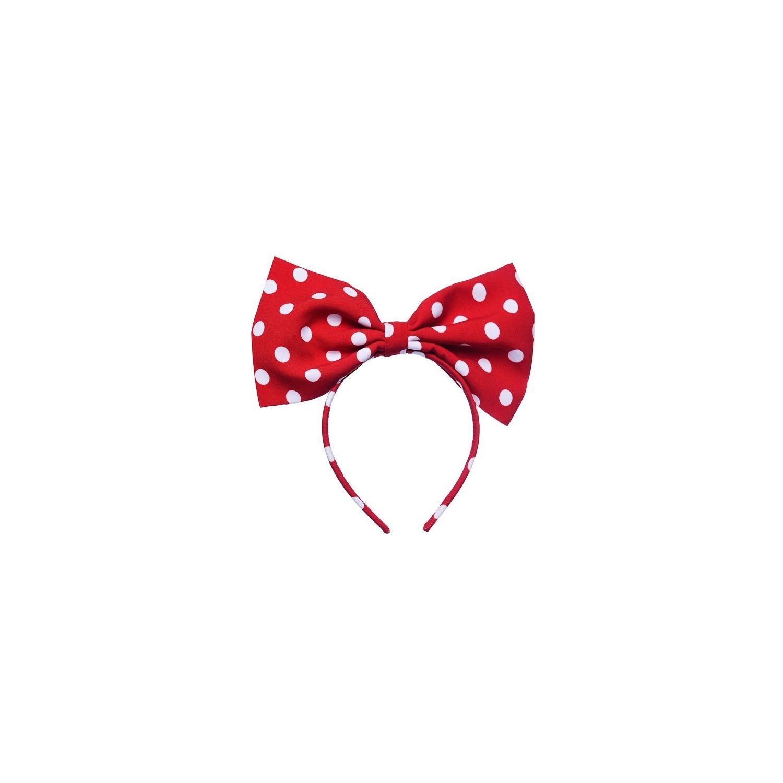 Minnie L bowed headband white dots on red