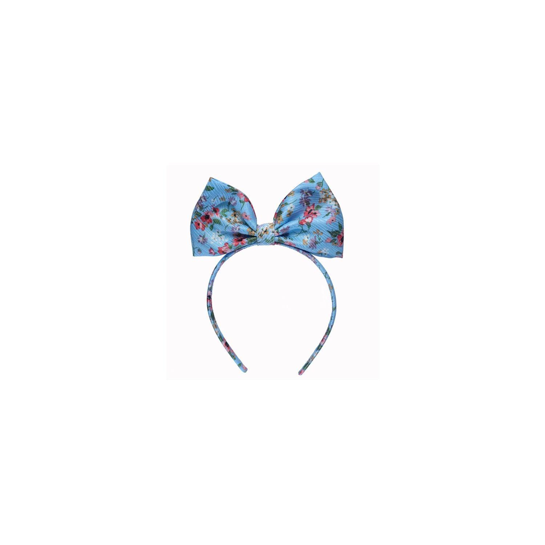 Headband cu fundă mătase naturală Minnie turcoise și floricele cireș