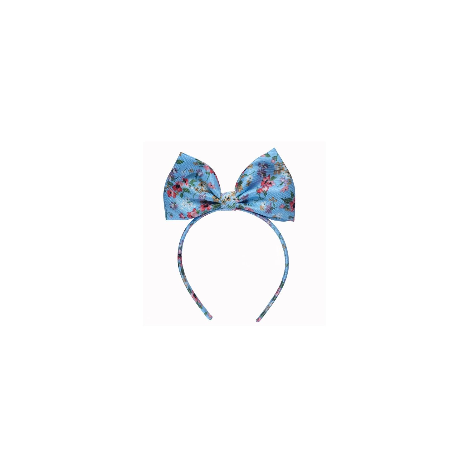 Turquoise and Cherry flowers silk bowed headband