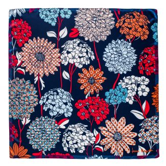 Silk scarf Secret Garden blue